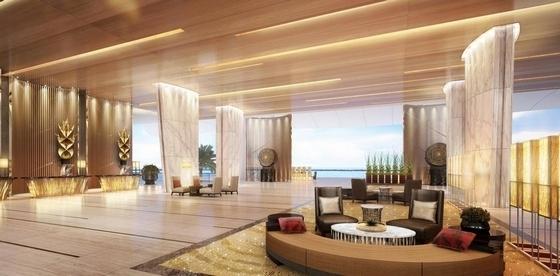 [海南]雅致海滨地带五星级度假酒店客房装修施工图(含全套酒店方案)大堂吧效果图