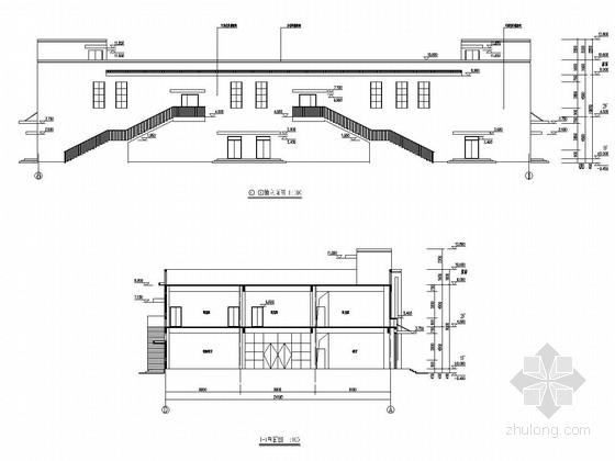 两层框架结构小学体艺馆结构施工图(含建筑施工图)