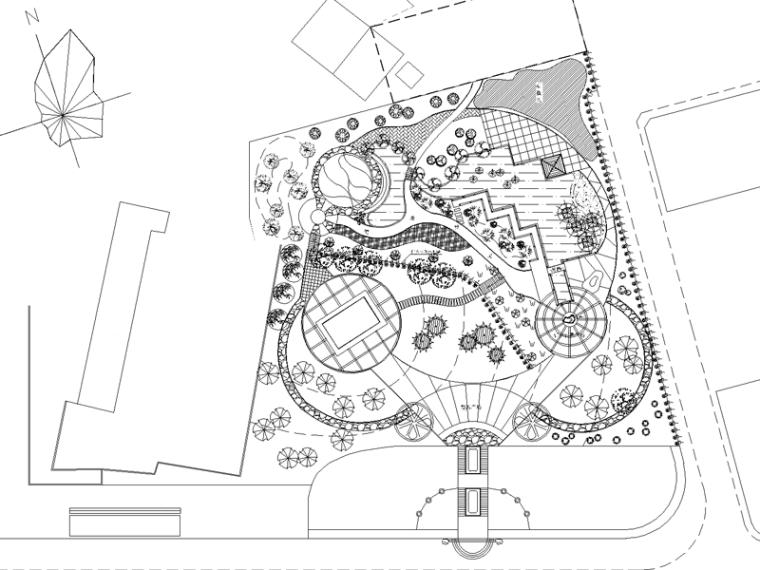 乡镇公园小游园景观设计CAD施工图图纸(含植物配置说明)