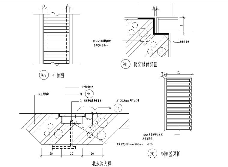 12个地沟及盖板节点详图