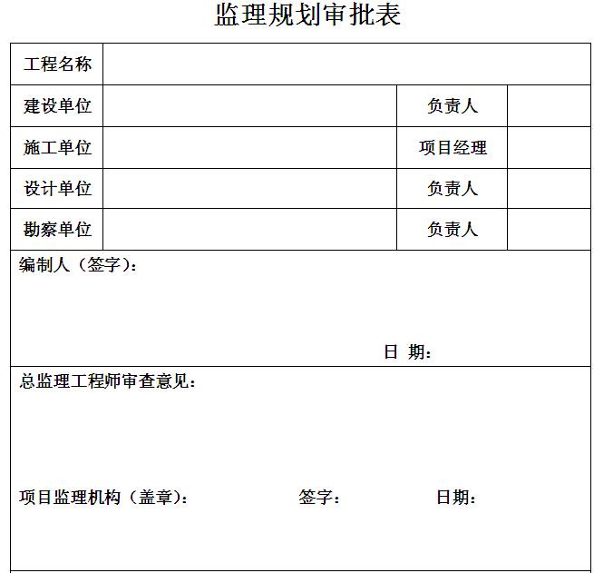 监理规划审批表
