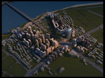 建筑规划效果图鸟瞰黄昏后期制作-设计连连看_9