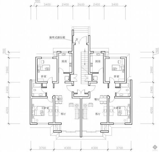 板式多层一梯两户二室二厅一卫户型图(87/87)