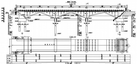 石嘴山市某3-30m上承式空腹板拱桥设计图