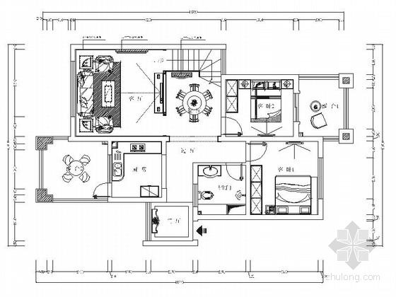 豪华复古新中式风格别墅室内装修施工图(含效果)