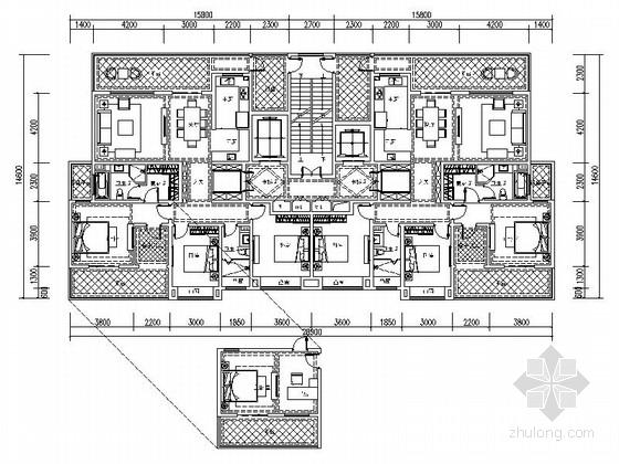 某高层住宅小区两梯两户平面图(175平米)