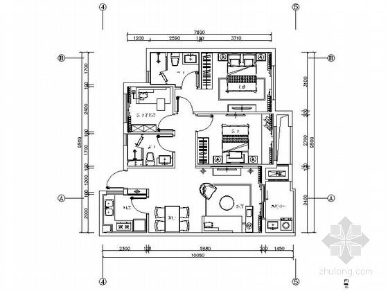 [浙江]现代风格三居室室内装修施工图(含实景效果图)
