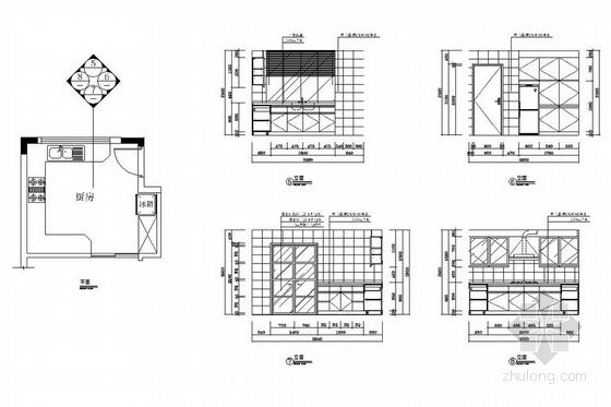 [广州]山水之间新中式风格三层别墅装修图(含效果图)厨房立面图