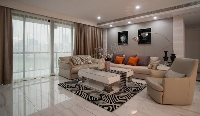 珊瑚水岸现代风格设计实景完工效果图时尚大气的家-图片2.jpg