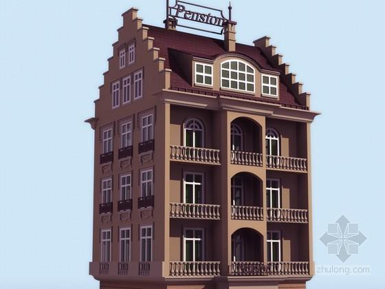 四层旅馆洋房建筑效果图模型
