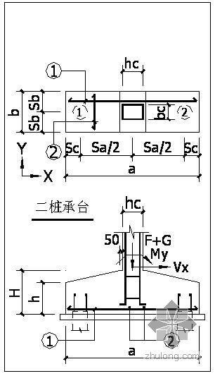 某桩基础承台大样节点构造详图