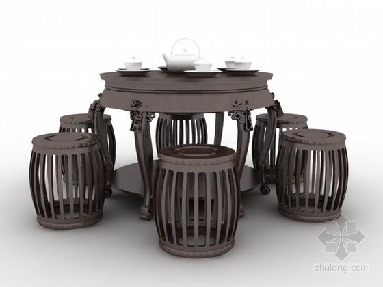 中式风格圆桌椅组合3d模型下载