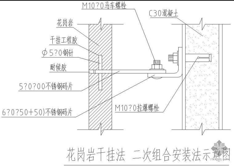 某花岗岩干挂法二次组合安装法示意节点构造详图