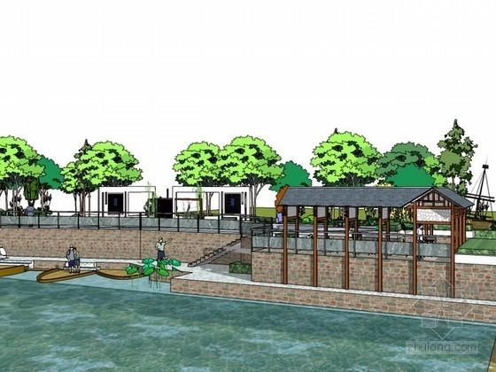 湖边小广场sketchup模型下载