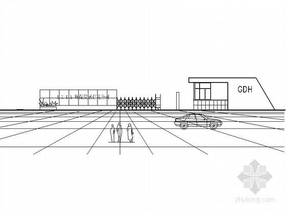 某污水厂大门及围墙建筑施工图