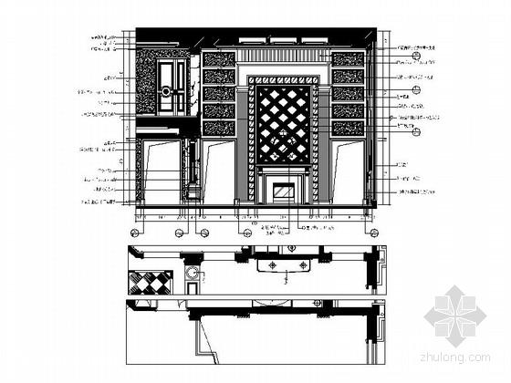 [常州]古典欧式三层别墅样板房装修图(含效果)客厅立面图