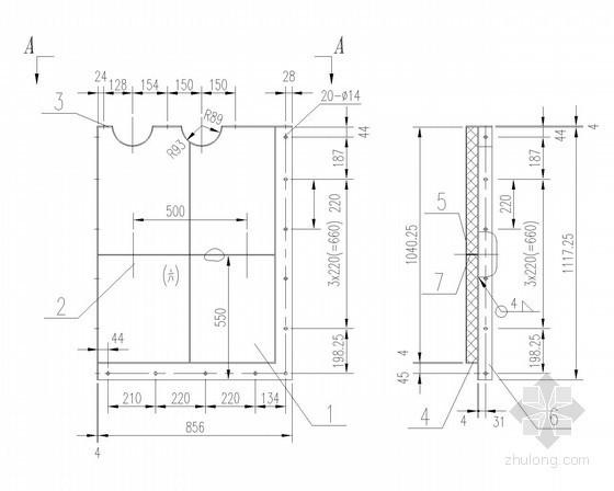 建筑给排水设备安装大样图(38张)-弯头箱门零件图