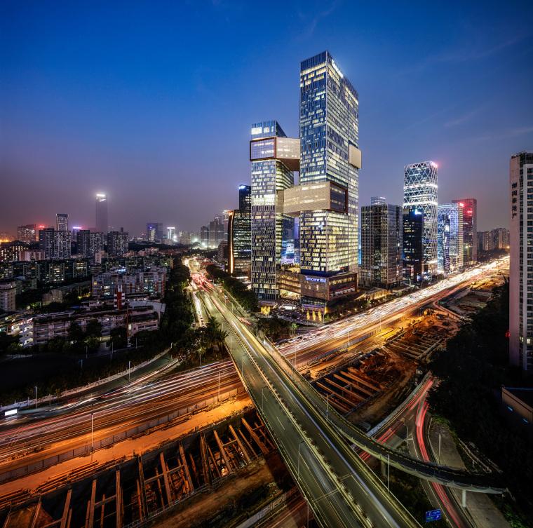 深圳连接高效的腾讯新总部外部夜景实景图 (6)