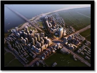 建筑规划效果图鸟瞰黄昏后期制作-设计连连看