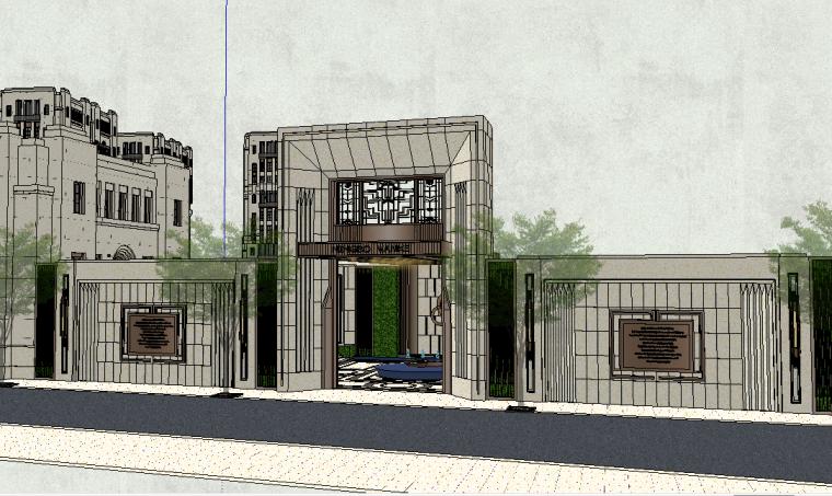 居住区大门围墙模型设计(新中式风格)-场景二