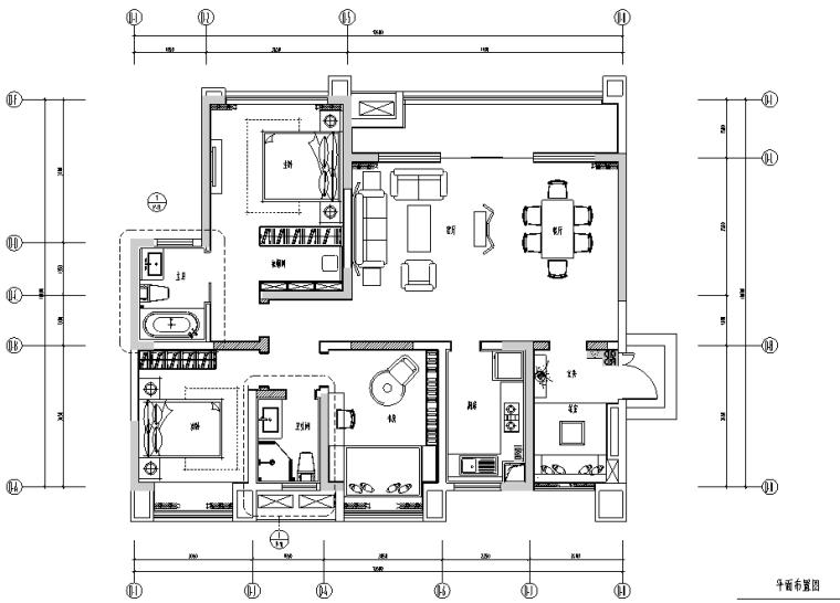 [四川]中洲白鹭轻奢风样板房设计施工图(附效果图)