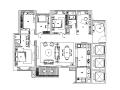 鸿壹方中心玖誉6B户型住宅设计施工图(附效果图+软装方案PPT+物料书+机电+水电图)