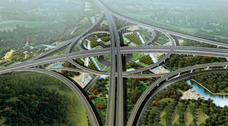 [江苏]苏州市沪宁高速公路西出入口景观规划方案设计(现代风格)-E段透视图