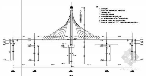 襄汾县某人行景观桥(斜拉桥与梁桥组合型桥)设计图