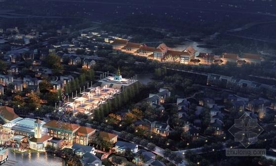 [江苏]国际级综合性旅游度假区景观规划方案-夜景鸟瞰图