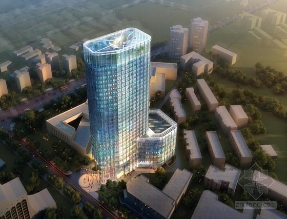 28层现代玻璃幕墙动漫办公大厦设计方案图(含效果图)
