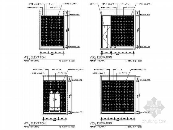 [新疆]1200㎡现代风格会所室内装修施工图(含实景图)收银间立面图