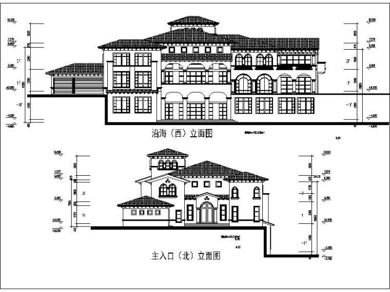 [广东]滨海大型地中海方案独栋别墅v方案图纸图标注手绘怎么风格弧长图片