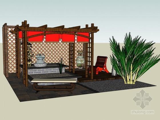 中式花园休闲廊架sketchup模型下载
