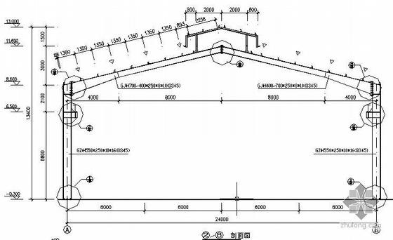 某24米跨门式刚架轻型房屋钢结构厂房施工图