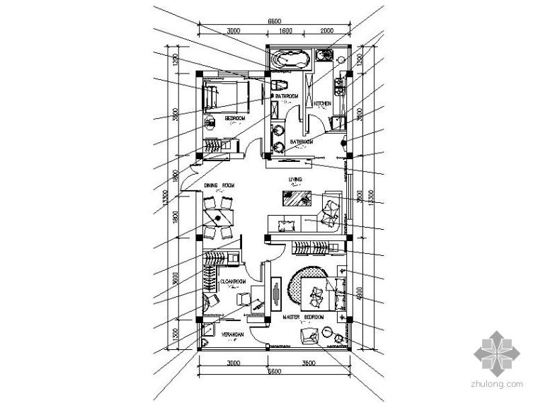 现代三居室内设计施工图(含效果)_1