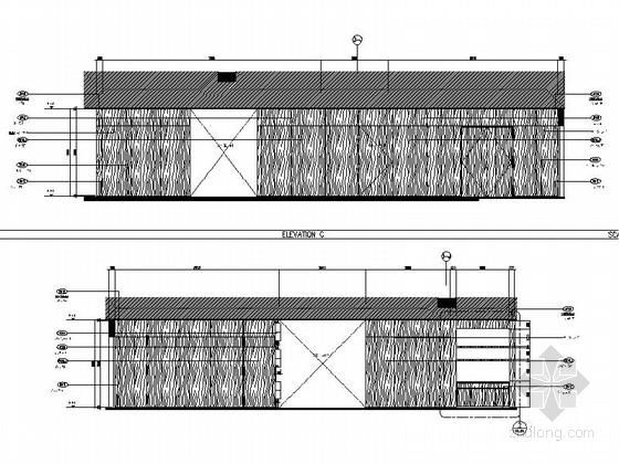[上海]豪华现代酒店卫生间电梯厅走道室内装修施工图(含效果)走道立面图