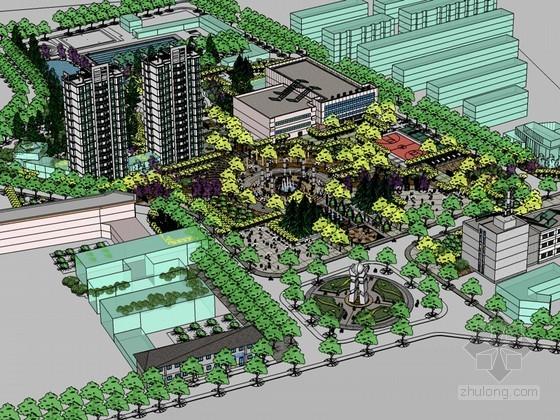 中心广场SketchUp模型下载