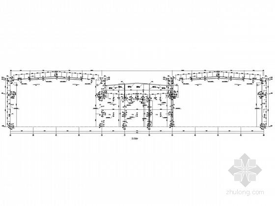 72米跨局部3层门式刚架结构施工图(高低跨、钢承板)
