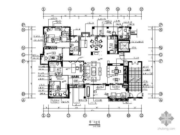 [深圳]中式风格样板五居室装修图
