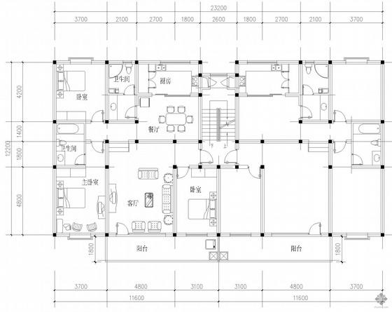 板式多层一梯二户户型图(135/135)