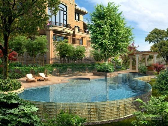 别墅泳池景观PSD分层素材下载