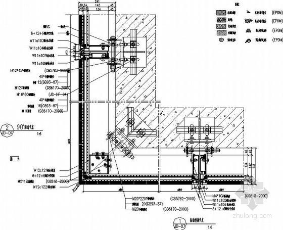明框单元幕墙节点构造详图