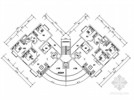 某转角带电梯多层住宅户型平面图(南梯)