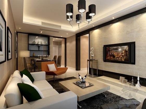 [浙江]现代风格两居室装修施工图(含效果图) 效果图