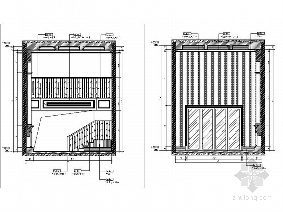精品现代三层别墅样板间室内装修施工图客厅立面图