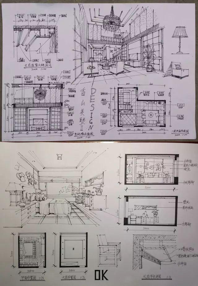 室内手绘 室内设计手绘马克笔上色快题分析图解_27