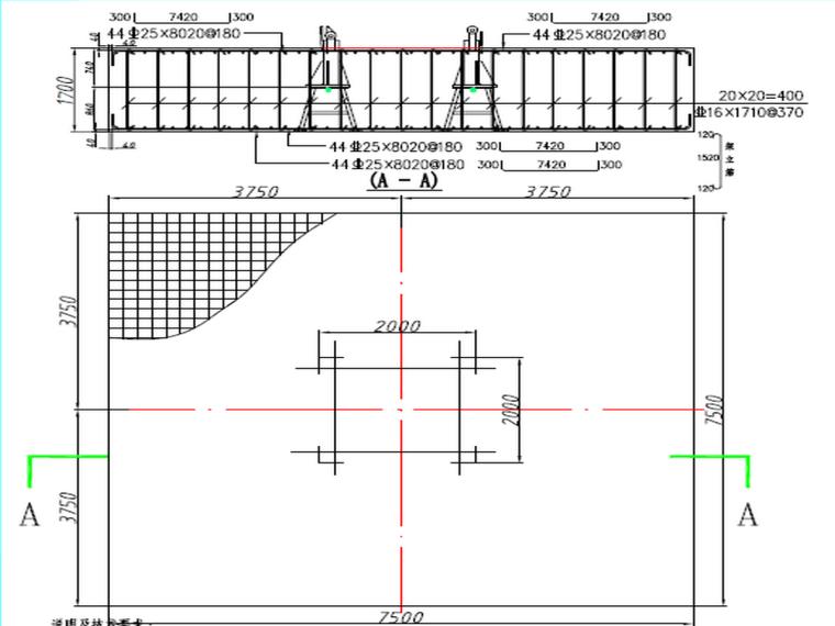 甘肃知名酒店塔吊基础施工方案-ST553、S450、ST7030系列塔吊配筋及埋螺栓固定式基础示意图