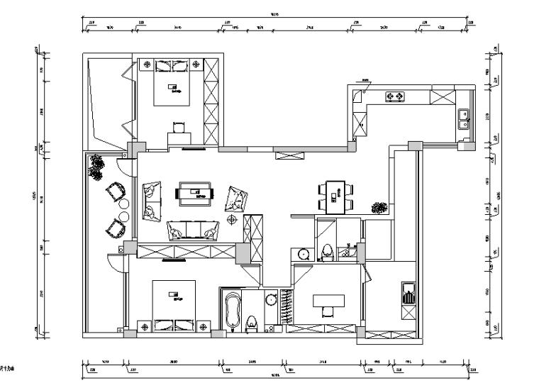 印象日出主题三居室样板房设计施工图(附效果图)