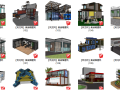 140套集装箱su模型,住宅建筑(101-140)