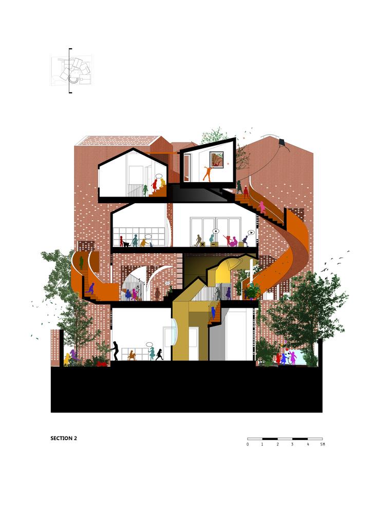 越南乐高式砖砌幼儿园建筑-16